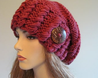 Slouchy Beanie Slouch Hats Oversized Baggy Beret Button Womens Fall Winter accessory Fuchsia Super Chunky Hand Made Knit