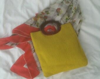 Yellow Woven Tote Bag  ECS