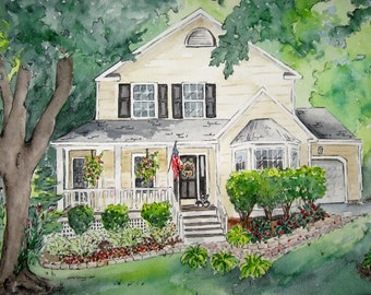 Custom House Painting for Gift for Parents - Watercolor Painting of Home for First Anniversary - Custom Watercolor Portrait from Photo