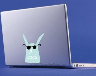 Cool Bunny Vinyl Laptop or Automotive Art FREE SHIPPING, funny bunny rabbit sunglasses laptop art bunny laptop sticker rear window sticker