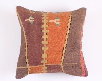 VINTAGE Pillow - VINTAGE Turkish decorative kilim pillow cover,16''X16'', Bohemian Home Decor, Cushion Cover