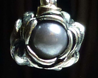 Silver Grey Faux Pearl Spacer Bead For European Style Charm Bracelet - Silver Plated
