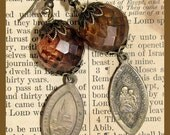 Vintage Religious Medal Earrings