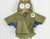 Owl bath robe hooded personalized monogram baby green