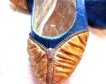 Custom painted blue ballet flats with glitter women's size 8.5