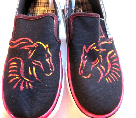 Custom Painted artwork flaming horse mens slip on shoes size 7 ON SALE