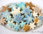 Snowflake Cookies Holiday Winter Christmas Decorated Royal Icing Sugar Cookies - HappyLorisBaking