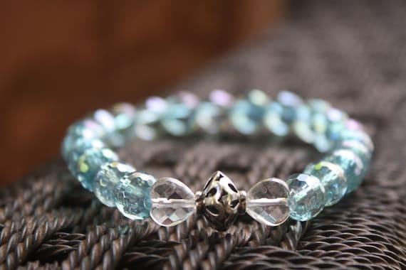 Aqua Aura, faceted Quartz Crystal Hearts Bracelet