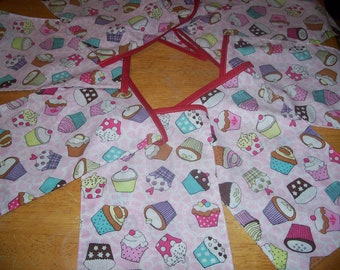 cupcakes bunting rectangle bunting pink cupcake double sided