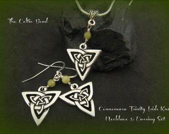 Connemara Marble Gemstone Trinity Knot Necklace and Sterling Irish Trinity Knot Earrrings