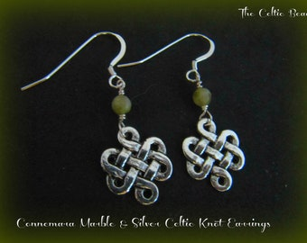 Connemara Marble and Silver Celtic Knot Earrings