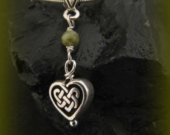 Connemara Marble and Silver Celtic Heart Knot Necklace