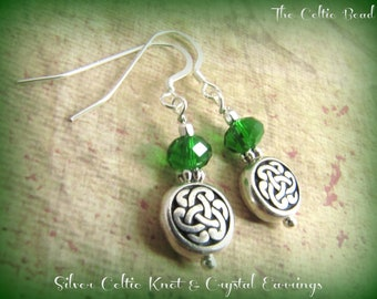 Silver Celtic Knot & Green Crystal Earrings