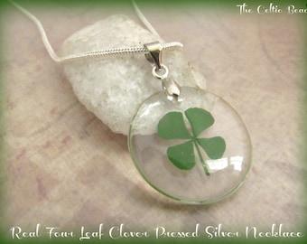 Real Four Leaf Irish Clover Pressed Silver Shamrock Necklace