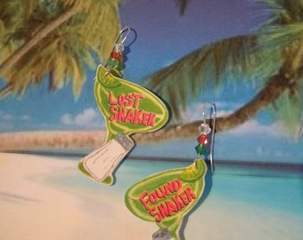 parrothead jimmy buffett margaritaville tropical beach lost shaker of salt earrings