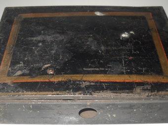 Vintage Metal Box, Black Metal Lock Box, Industrial Metal,