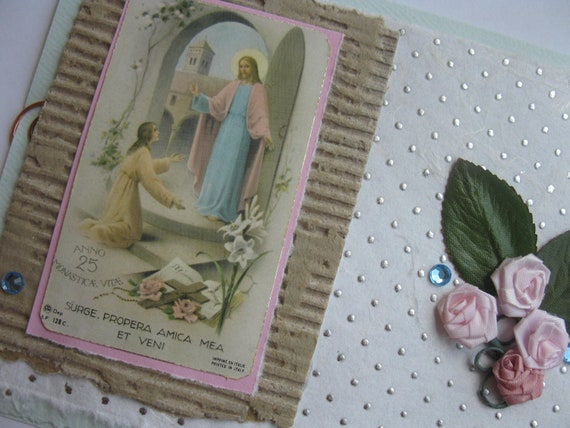 Catholic Nun Handmade Card with the Song of Solomon Light Blue with Pink Flowers Catholic Sister