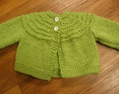 Hand Knit Preemie or Doll jacket with Flower Buttons