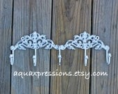 Metal Wall Hook /White /Jewelry/ Key Holder/ Bath Towels Laundry /Mud Room Accessory/ Iron Organizer/ Bathroom/ Bedroom/ French Country /
