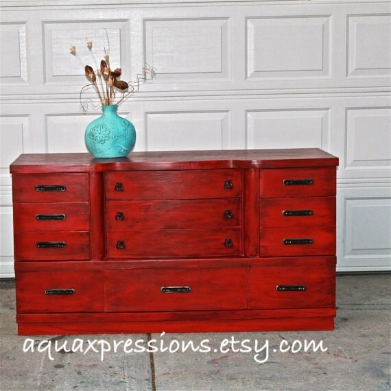 Red Vintage Dresser Bright Buffet Bedroom By Aquaxpressions