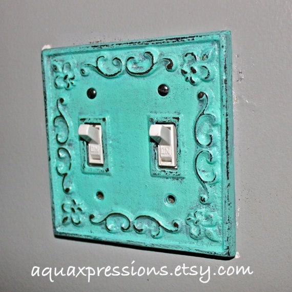 Items similar to decorative light switch plate aquamarine Light switch plates decorative