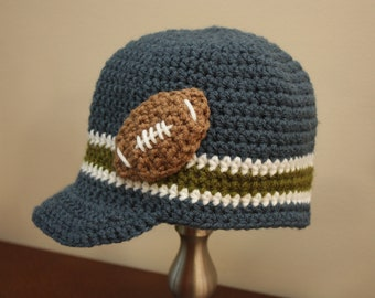 Football Applique Hat - Crochet Football Hat - Baby Boy Hat - Toddler Boy Hat
