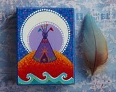 Tipi under the stars- Wood Block Print Art