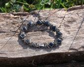 Shiny X and Black Diamond Vintage Bracelet