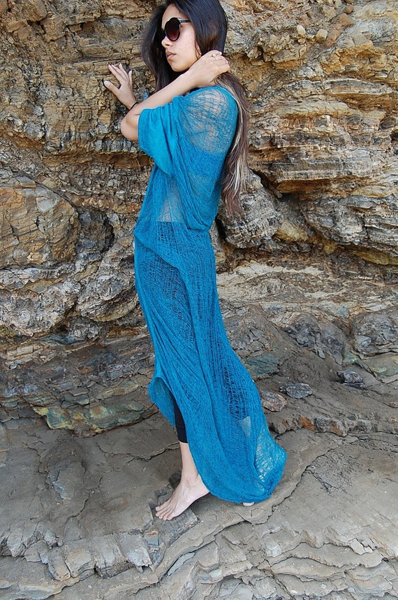 Oversized Long Shredded Dress in Blue