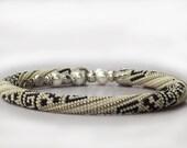 Greek Ornament - Bead Crochet Necklace - Beaded Necklace - Ethnic Necklace -White Black Silver Beadwork Handmade Jewelry Modern Geometric