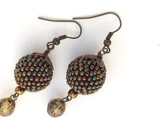Beaded Bead earrings Patina &  bronze Minimalist  Vintage style  Rustic  Beadwork  Jewelry