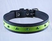 """Leather Dog Collar Medium Couture Green 1"""" ON SALE"""