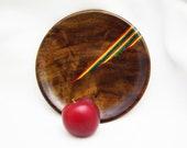 Black Walnut Wood Plate with Rainbow Birch Inlay