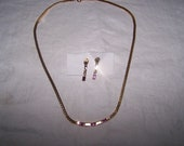 vintage  jewelry PRETTY Avon purple RS NECKLACE and pierced earring set