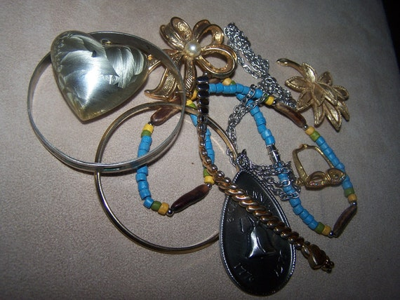 SALE vintage jewelry LOT heart pendant pins necklaces