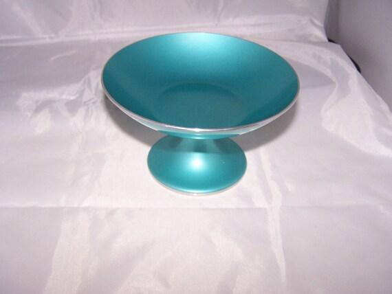 SALE Vintage Emalox Danish Modern Norway Aluminum Pedestal Bowl entertaining home decor