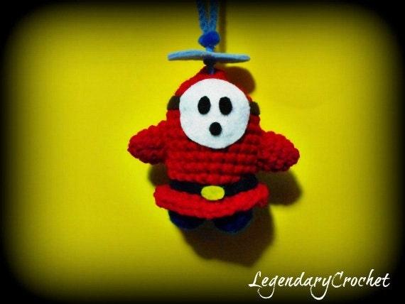 Crochet Mario fly guy ornament