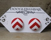 Red Chevron Design- Red & White Zigzag Stripes Lines Fabric Button Stud Post Earrings- Wedding - Nautical Sailor