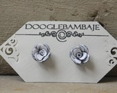 Nautical Polka Dots Rose Design- White with Dark Navy Blue w/ White Dot Double Sided Fabric Mini Rose Stud Post Earrings Wedding Sailor