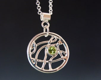 Dream Catcher Pendant made of Sterling silver with Peridot or lab Saphire