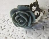 Blue Grey Flower Cameo Ring - Filigree rose Cabochon