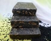 Antibacterial Natural Soap for Sensitive Skin - Homemade Black Cumin Soap with Chamomile - Vegan Facial Soap - Jojoba Herbal Coffee Soap