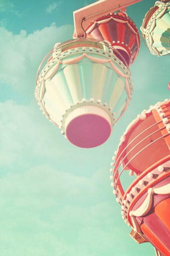 Carnival Nursery Decor, ferris wheel, vintage circus print, pastel, nursery print, nursery decor, shabby chic, teal