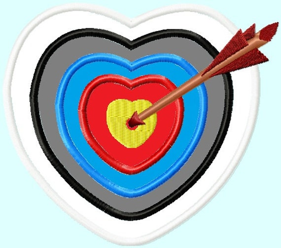 Archery Heart Target APPLIQUE Embroidery Design INSTANT