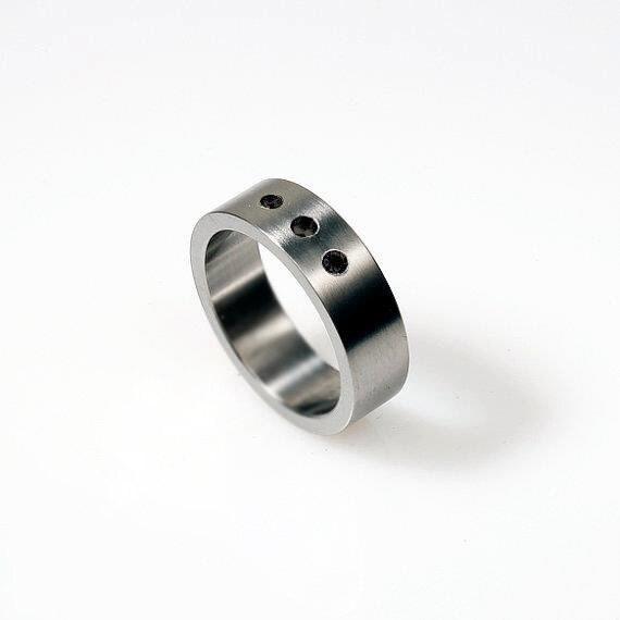 Black Diamond ring white gold mens wedding by TorkkeliJewellery