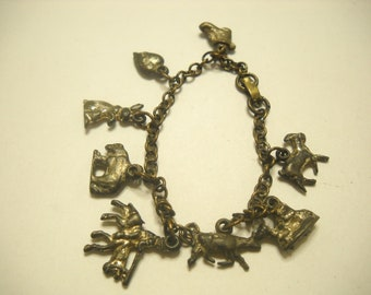 Vintage and Aged Western Charm Bracelet (1803)