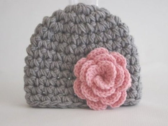 Crocheting Baby Hats : ... Crochet baby Hats in gray and pink flower Photo Prop or Winter Hat