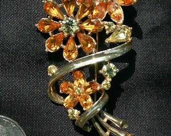 Coro Rhinestone Flower Pin Brooch Amber-Colored Rhinestones Vintage
