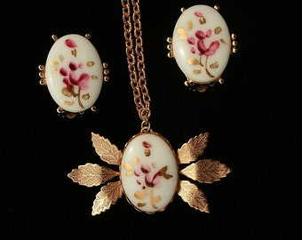 Flower Necklace Earring Set Hand Painted Vintage Any Occasion
