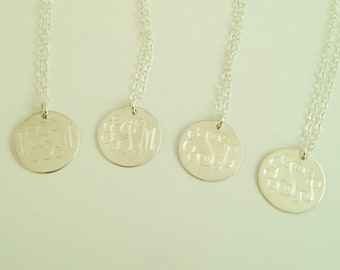 4 Monogrammed Sterling Silver Necklaces for Bridesmaid Present